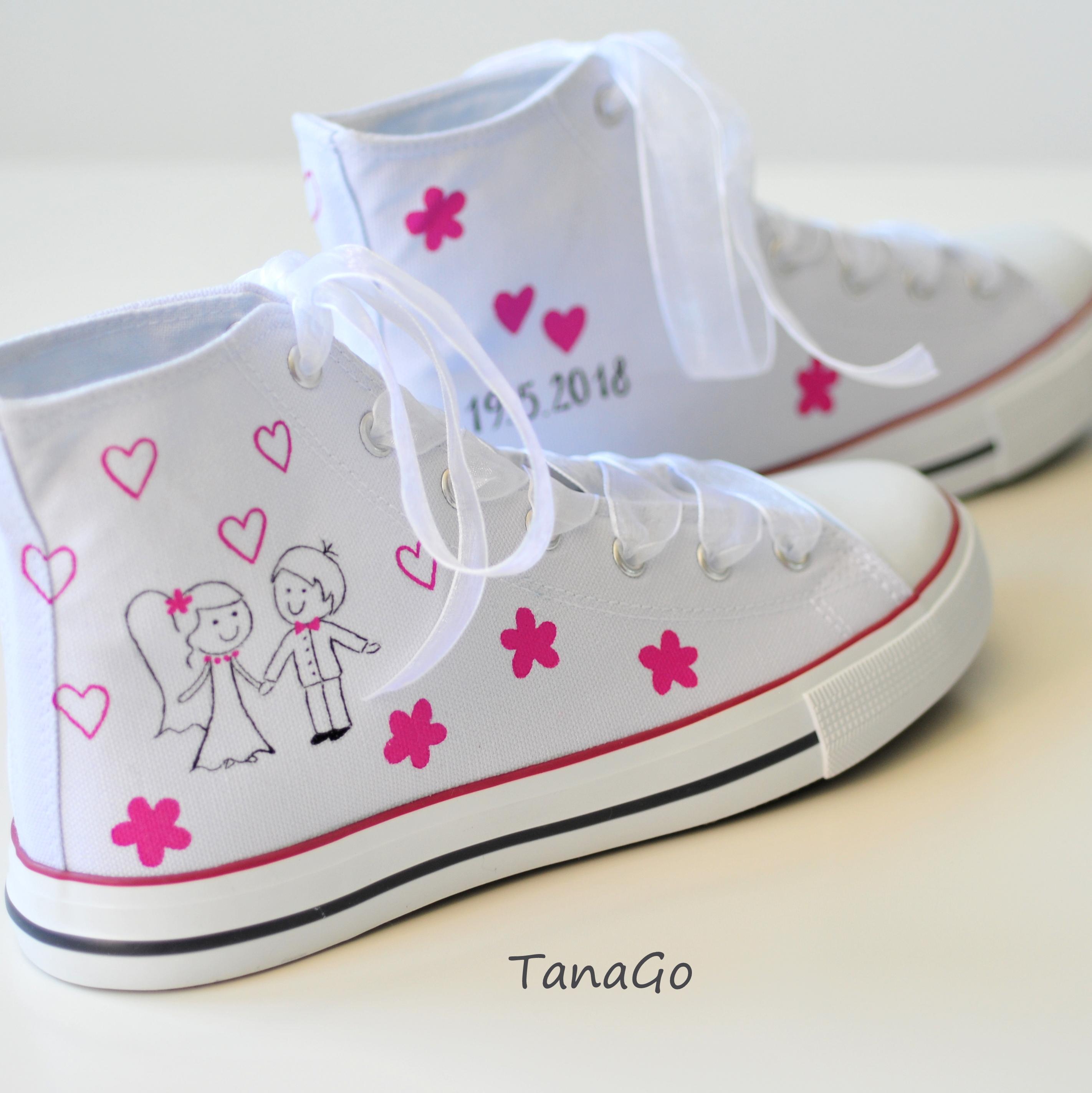 Svatební tenisky kotníkové s malinovou růžovou  8b0f79169f
