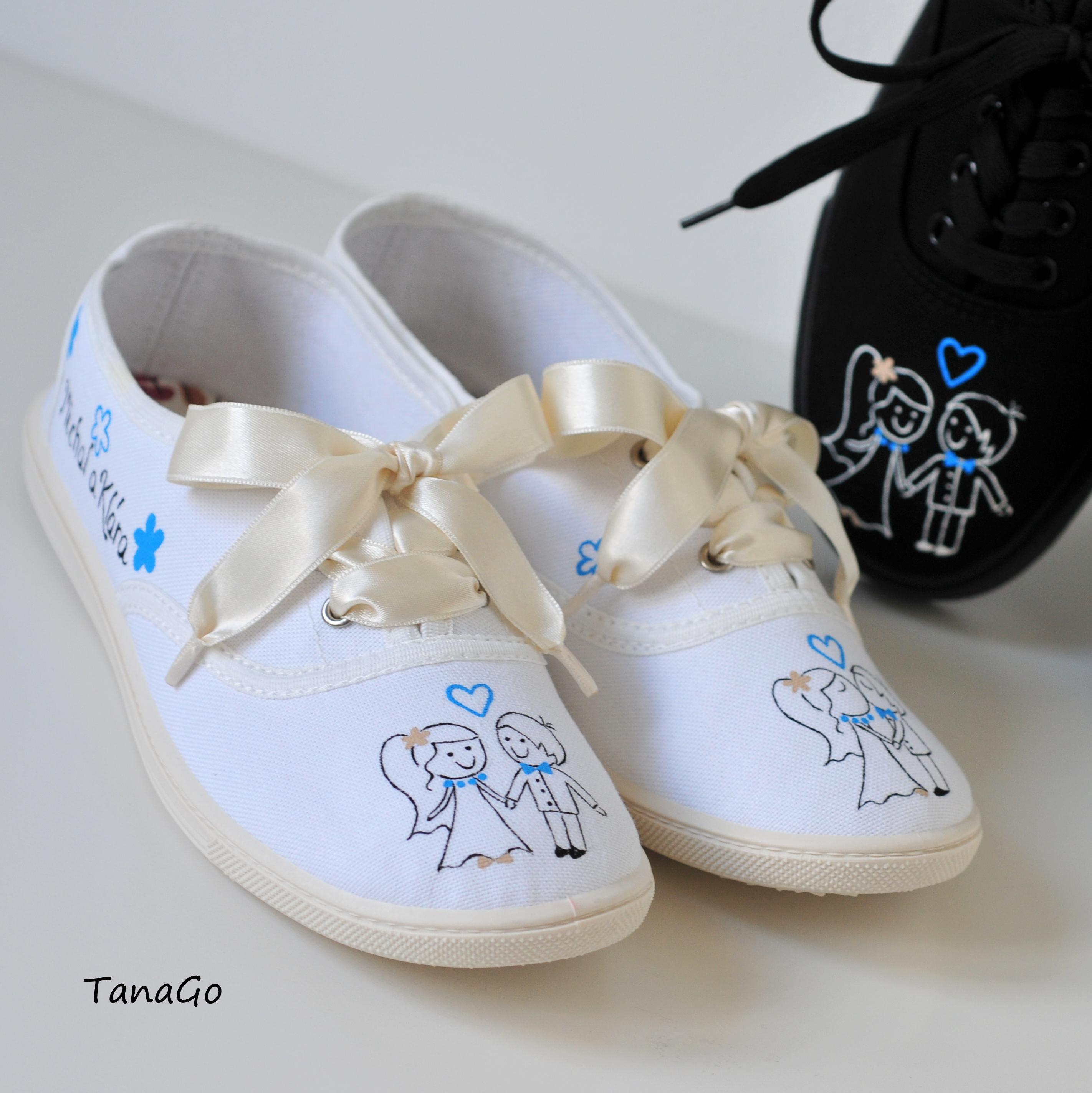 2ffd024c2f1 Svatební tenisky párové modrokrémové | TanaGo - malované boty ...