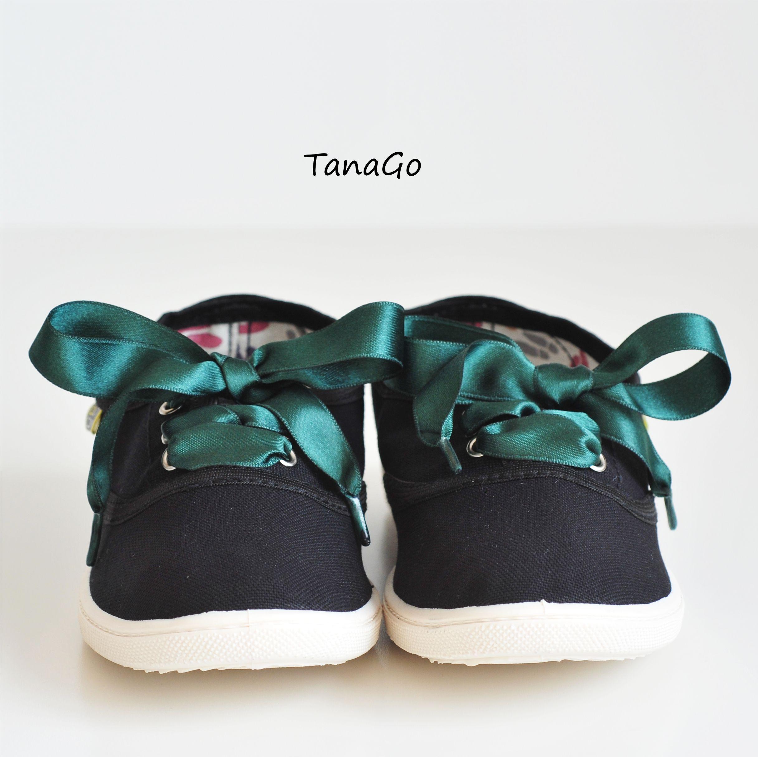 1b8ff6faf62 Černé tenisky se saténovou tkaničkou - vyber si barvu | TanaGo ...