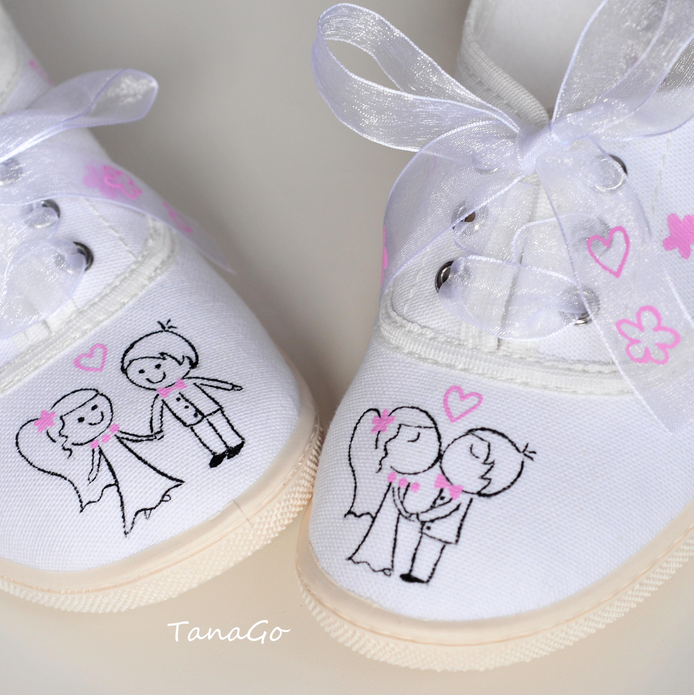 01160e04e5 Svatební tenisky s růžovou